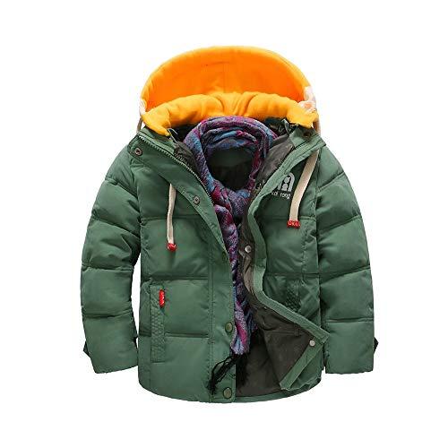 OCHENTA Giacca Parka con cappuccio imbottito trapuntato invernale imbottito da bambino Esercito Verde Etichetta 130-47'(6-7Anni)