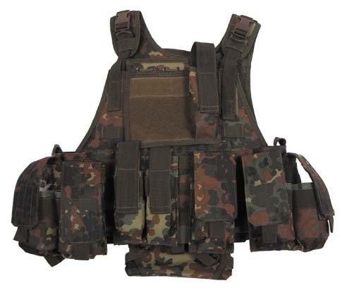 """Weste, \""""Ranger\"""" diverse Taschen, flecktarn, Modular System"""