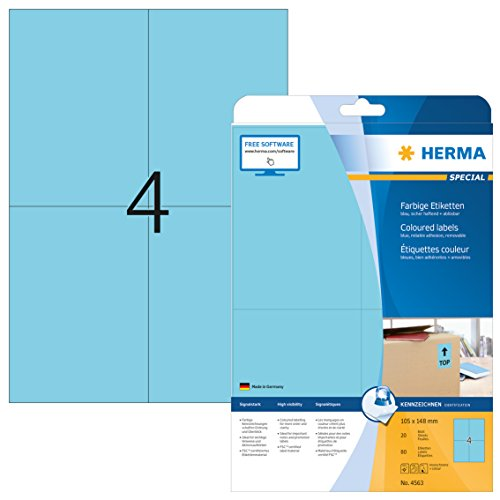 Herma 4563 Farbetiketten ablösbar (105 x 148 mm auf DIN A4 Papier matt, selbstklebend) 80 Stück auf 20 Blatt bedruckbar, blau