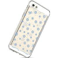 Handytasche Huawei Y5 2018 Weihnachten Silikon Hülle Crystal Clear Durchsichtige Hülle Ultradünn Transparent Handyhüllen TPU Bumper Case Cover,Blau Schneeflocken