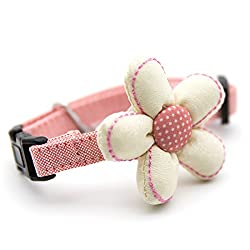 M , Beige,Pink : Generic Hand made Multi style bow tie Pet Collars Adjustable Necklace for small or medium dogs cats pets boys or girls S/M