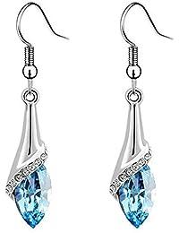 Shining Diva Fashion Blue Crystal Stylish Earings Fancy Party Wear Earrings for Women and Girls(8060er)