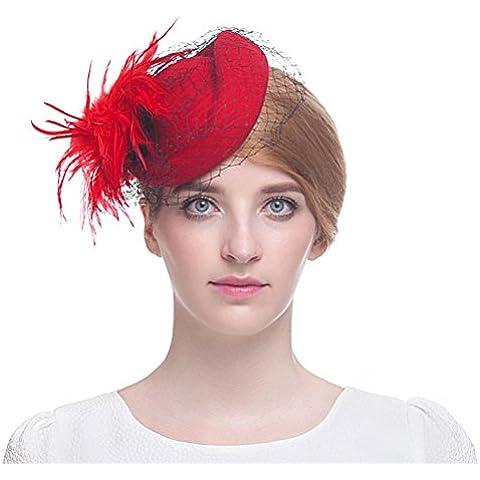 Valdler britannico Retro Elegante Nylon lana cappello Fascinator con Piuma e Fiore con placchetta Net filato fiori Red 3 Taglia unica