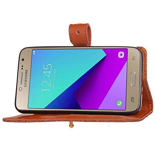 EKINHUI Case Cover European Mural Embossed Style Flip Stand Cover Geldbörse Tasche mit Nivellier Leder Gürtelschnalle für Samsung Galaxy J2 Prime ( Color : Blue ) Brown