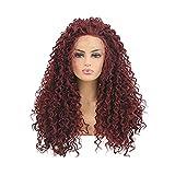 OKMIJNBH Parrucche Donna Lungo Capelli Veri,Lunghi Cosplay Lungo Lisci Rosso Resistente al Calore 61Cm/24Inch