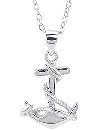 KONOV Schmuck Damen Halskette, 925 Sterling Silber Lieben Anker Anhänger mit 50cm Sterlingsilber Kette, Silber
