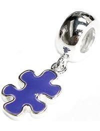 Queenberry Plata de Ley autismo Puzzle esmalte conciencia europea Estilo Dangle Bead Charm