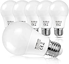 SHINE HAI Bombillas LED E27, Equivalente a 60w, 8W A60 800LM, Blanco Cálido 2700k, No Regulable, 6 Unidades