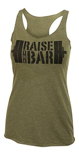 Erhöhung der Bar-Big Schablone-Frauen Barbell Military Grün Tri Blend Racerback Workout Tank Top, damen, military green - Stretch-fit-bar