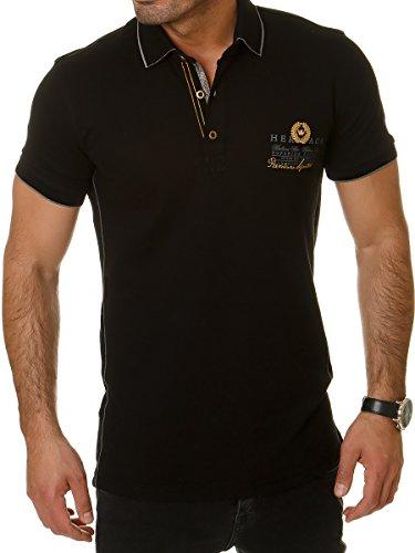 FRANZ HANNA FH Herren Poloshirt Polo Shirt T-Shirt Schwarz