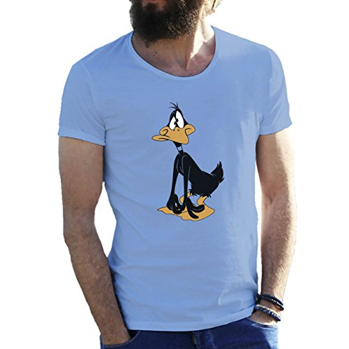 daffy-duck-confussed-azzurro-t-shirt-maglietta-per-uomo-x-large
