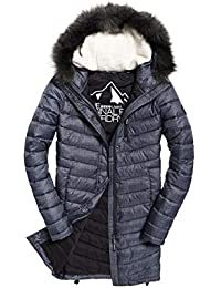 01f9277fc517 Superdry Jacke Damen Chevron Faux FUR SUPER Fuji Charcoal Micro Dogtooth