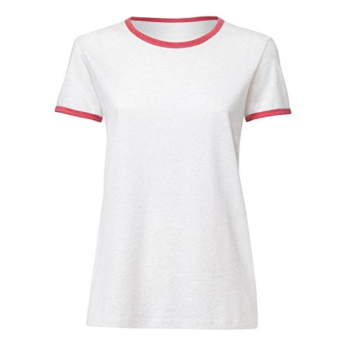 THOKKTHOKK Damen Ringer T-Shirt Cream Heather Grey/Heather Cranberry Aus 100% Biobaumwolle//Bio und Fair, Größe:XL (Heather Ringer Damen)