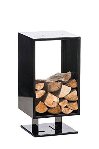 CLP Metall Kaminholzständer CUBITO, Kaminholz-Regal bis zu 6 Größen + 2 Farben wählbar schwarz, 30x30x60 cm