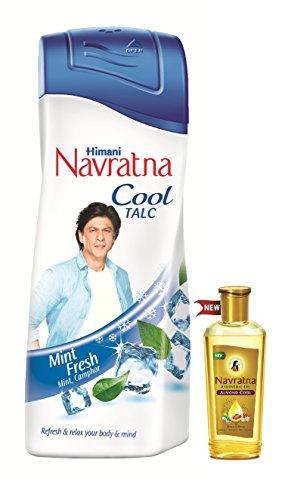 Navratna Cool Talc Mint Fresh, 400g with Free Navratna Almond Cool Oil, 50ml