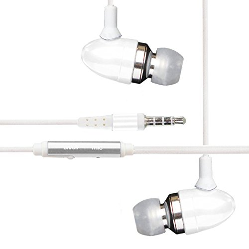 2Ticks ASUS ZENFONE 3 ZOOM Earphones Kopfhörer Sound Isolating Metal Bullet Earbud Hands-Free Headset mit Mic & On / Off Antwort-Taste - White
