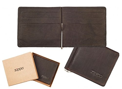 zippo-genuine-leather-bi-fold-mens-wallet-money-clip-mocca-brown