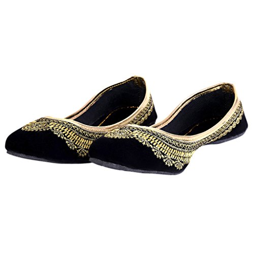 Indian Handicrafts Export Women Handmade Zari Work Black Velvet Ballerina Sandals
