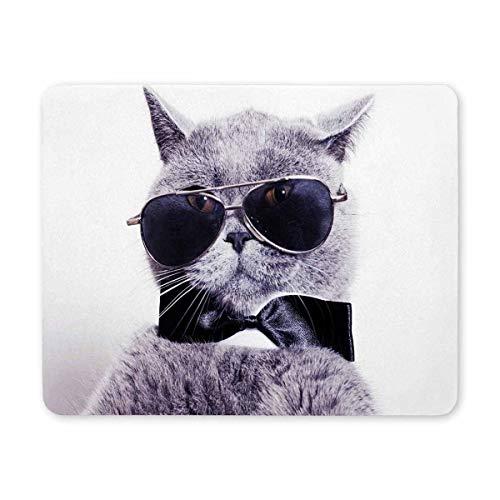 Gaming Mouse Pad, Maus - Pads Graue Katze mit Sonnenbrille und Bändchen Fliege Gaming Mouse Pad