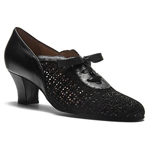 Rumpf Premium Line 9231 Damen Swing Ballroom Lindy Hop Schuhe Leder Absatz 5 cm, Schwarz, 41 EU