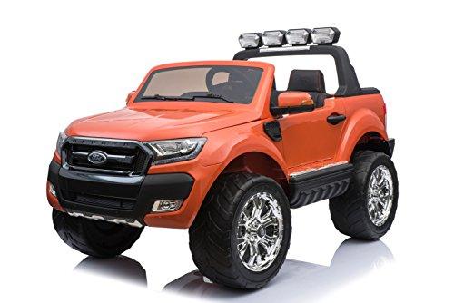 ES-TOYS Kinderfahrzeug - Elektro Auto Ford Ranger, Modell - lizenziert - 2X 12V7AH Akku,4 Motoren+ 2,4Ghz+MP4+Ledersitz+Eva+2 Sitzer (Orange)