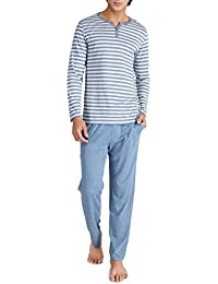 673a664ca6 Genuwin Herren Zweiteiliger Schlafanzug Lang Pyjama Set aus 100% Baumwolle  Basic Nachtwäsche für Männer - Streifen T-Shirt mit…