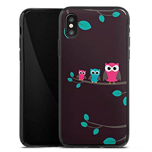 Apple iPhone X Silikon Hülle Case Schutzhülle Eulen Cute Wald Silikon Case schwarz