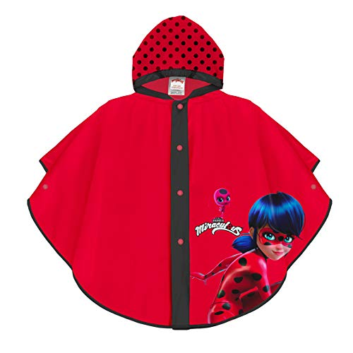 PERLETTI Miraculous Ladybug Waterproof Cape for Children - Red Rainproof Poncho for Girls with Black Polka Dots - Light and Resistant Lady Bug Raincoat with Hood and Buttons