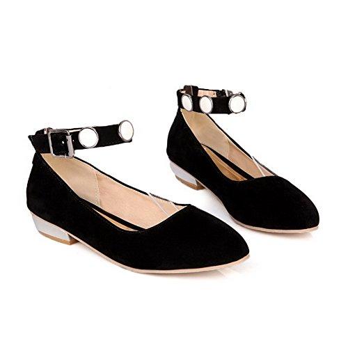 Voguezone009 Femmes Tissu Perle Boucle Chaussures Pointu Fermé Toe Bas Talon  Noir Pur Ballerines ... b84d919afca9