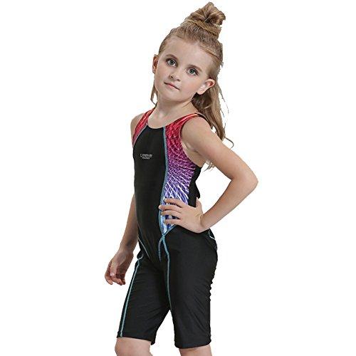 Hougood Kinder Mädchen Einteilige Badeanzug Wettbewerbsfähige Badebekleidung Bodys Professionelle Wettbewerb Schwimmen Kostüme Alter 4-12 Jahre Wettkampf Schwimmbekleidung