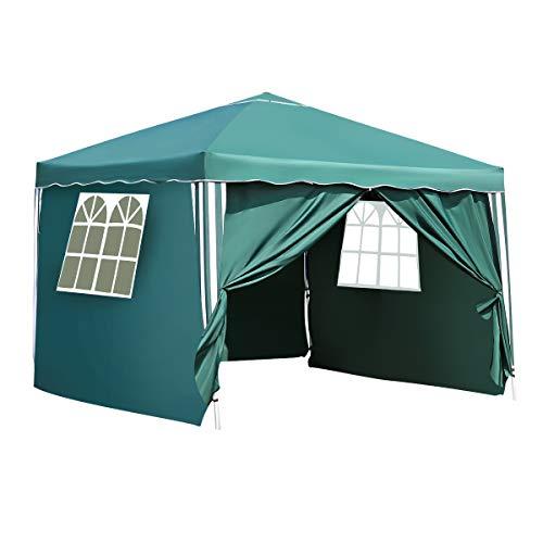 Pavillon Capri 3x3m Zelt mit hochklappbare Überdachung Schwerlast Gazebo Pop-Up UV-Schutz 50+ Ideal für Garten, Terrasse, Grillpartys (4 Sides, Grün)