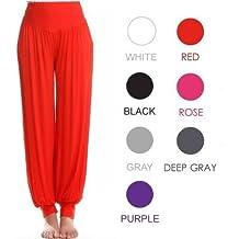 Genuino 95% Modal Deportivo Ropa Suave Mujer Yoga ropa bombachos pantalón - Blanco, Extra Grande