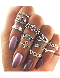 TBOP RING Jewellery Flowers Alloy Diamond Leaves 11 Sets Of Rings Hollow Moon Tail Silver Ring