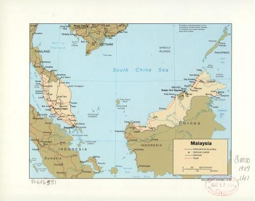 Historic Map, LLC 1989 Karte Malaysia. Größe: 18 x 61 cm, fertig zum Einrahmen - Malaysia, Malaysia. -