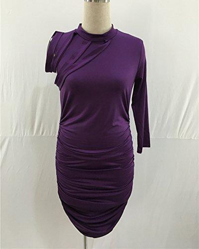 Vestiti Da Donna A Maniche Corto Bodycon Mini Dress Vestito Plus Size Club Wear Da Sera Viola
