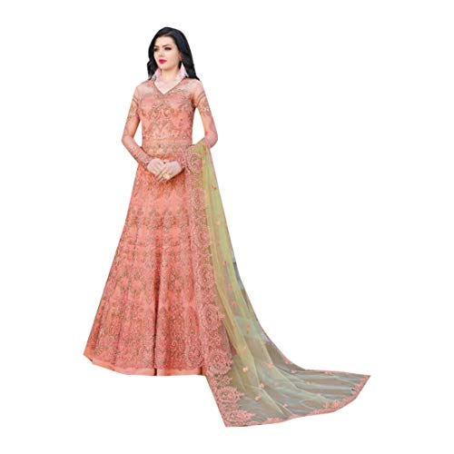Peach Indische muslimische Braut pakistanische Bollywood Anarkali Salwar Kameez bereit, Designer Boden Touch Net schwere Stickerei 7942 zu tragen Super Net Saree