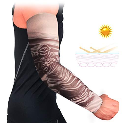 1PC Arm Ärmel Herren Atmungsaktive Anti-Rutsch-Manschetten UV-Schutz Compression Sun Sleeves - Manschette Denim Kurze