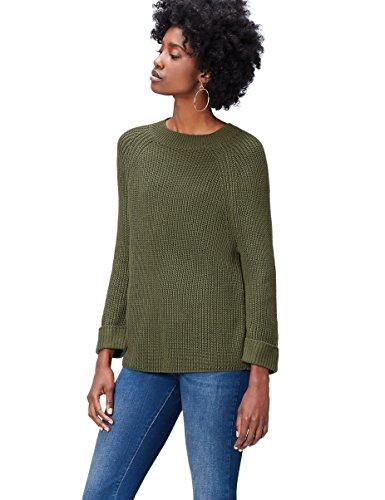 find. Pullover Damen gerippter Grobstrick runder Ausschnitt 3/4 Ärmeln, Grün (Khaki), 36 (Herstellergröße: Small)
