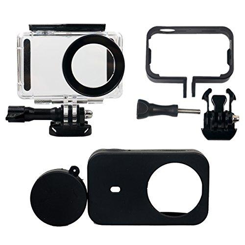 Flycoo 3er-Set: Tauchhülle + Rahmen + Schutzhülle aus Silikon für Xiaomi-MIJIA-4K-Mini-Action-Kamera mit Befestigungsschrauben und Basis.