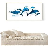 DONG Moderno minimalista piccoli dipinti Dolphin fresco pittura decorativa da letto divano impostazione Wall Painting , black box , 50*100