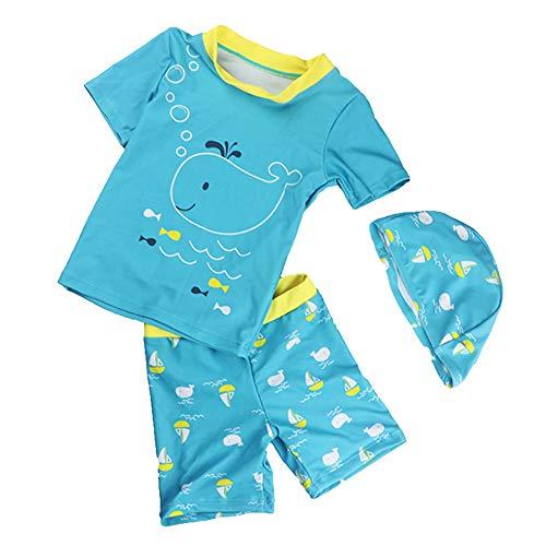 Ipben costume da bagno neonato 3 pezzi con t-shirt a cuffia con motivo stampato dinosauro e pantaloncino a righe per piscina da spiaggia 3-8 anni (green whale, 3 years)