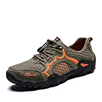 Hiking Walking Shoes Men Breathable Hiking Shoes For Athletic Sneaker Mesh Fabric Antislip Mountain Climbing Waterproof Shoes (Color : Green, Size : 48 EU)