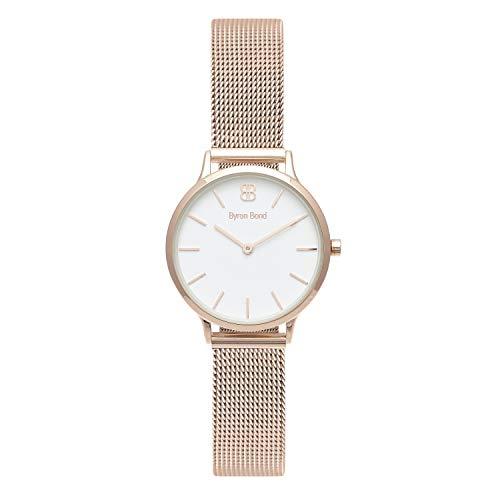 Byron Bond Damen Armbanduhr - Mark 5-32mm breite Elegante Damen-Armbanduhr - Rosegold