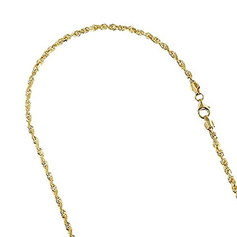 Solid 14K Yellow Gold 2.8mm Wide Rope Chain Diamond Cut Necklace with Lobster Clasp 24