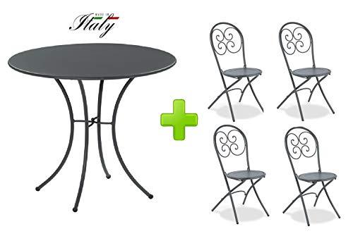 Emu Table pour extérieur Pigalle Kiss diamètre 80 cm + 4 Chaise pighevole Pigalle 924 – en Fer zingué et Verni à poussières – Couleur Fer Ancien Fantaisie 22 – Produit fabriqué en Italie