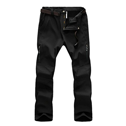 Zhhlaixing Outdoor Windproof Waterproof Warm Gli sport Trousers Mens Soft Shell Breathable Quick Drying Pants Black