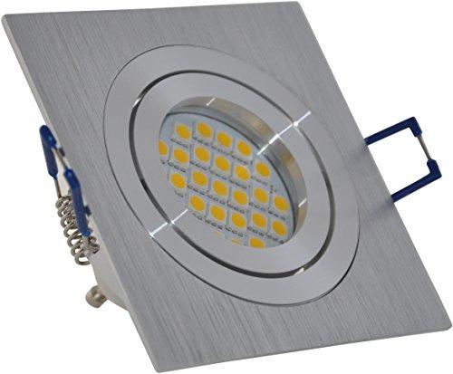 Einbaustrahler quadratisch | Aluminium gebürstet | schwenkbar | 230Volt GU10 5Watt LED warmweiss 2700Kelvin 450Lumen | Lampenfassung mit Anschusskabel inklusive
