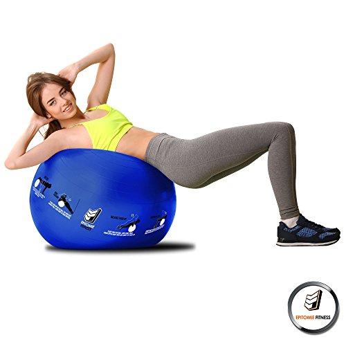 Active Balance Swiss Ball – Robuster Gymnastikball mit gedruckten Übungen & Trainings-eBuch - Der beste Trainingsball für Yoga, Stabilitätsübungen & Pilates. Auch als Sitzball verwendbar - 3