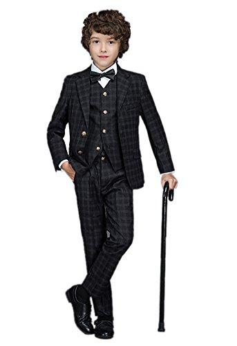 Icegrey Festlicher Jungen Anzug Smoking Kleiner Gentleman mit zwei Knöpfen formale Klage 3 Stück Set Tiefes Blau 9 Jahre 140CM (Einreiher Drei Stück Anzug Mit)