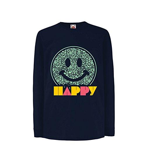 Kinder-T-Shirt mit Langen Ärmeln Emoji Wear - Inspirational Happy Emoticon Cute Smileys Face (14-15 Years Blau Mehrfarben)